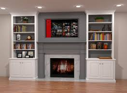 two tone built in fireplace surround features gray mantle and