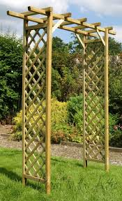 wide classic square timber garden arch trellis archway kitchen