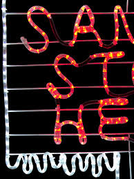 stop sign with led lights santa stop here sign post led light silhouette 1 5m