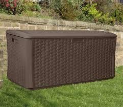suncast extra large wicker deck box for garden storage