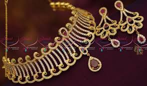 beautiful necklace online images Nl6835 beautiful gold finish cz ruby emerald choker necklace buy JPG