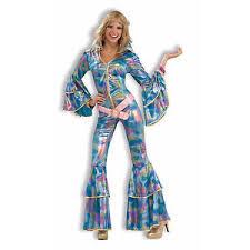 blue jumpsuit costume forum novelties s disco momma 70 s blue bell bottom jumpsuit