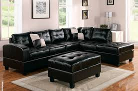 Small L Shaped Leather Sofa Furniture Black Leather Cofa With Chaise Added With Rectanle