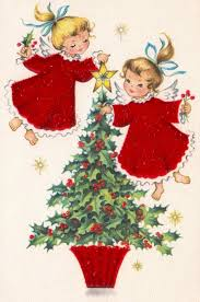 baby angels christmas angels vintage christmas card retro