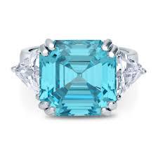 asscher cut diamond engagement rings sterling silver asscher blue cubic zirconia cz 3 stone fashion
