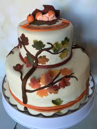 Halloween Baby Shower Cakes by Fall Themed Baby Shower The Bottom Tier Was Vanilla Cake With A