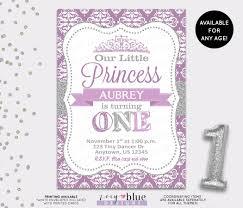 Princess Birthday Invitation Card Princess Birthday Invitation Purple Silver Glitter Little