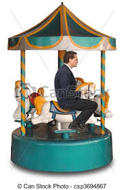 corporate merry go businessman sitting on a small