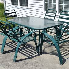 Glass Patio Table And Chairs Green Metal And Glass Patio Table And Chairs Ebth