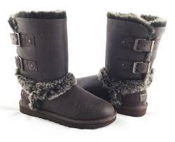 ugg australia skylah chocolate brown leather fur boots womens 6 ebay