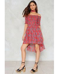 nasty gal sweetest cape off the shoulder dress in red lyst