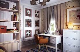 white table along blue wall boys sports bedroom ideas large