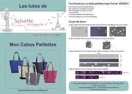 patron couture sac cabas kit sac paillettes toile gris perle galon vert d eau patron sac
