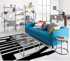 Modern Sofa Set Blue Color Import Fabric Divan Sofa Living Room - Fabric modern sofa