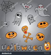 halloween background emoji doodle halloween holiday background halloween doodles stock vector