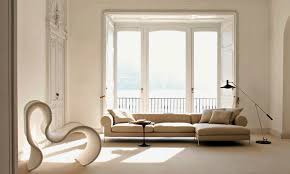modern living room design in small space to realize your dream modern high ceiling eclectic living room in beige color with big bay window box window classic