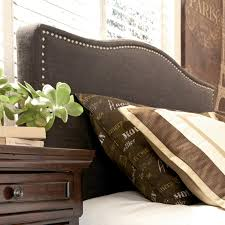 king california king upholstered headboard with brown woven fabric