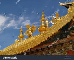 tibetan golden roof decoration tibet china stock photo 87306577