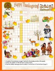 thanksgiving crossword worksheet by pessoa