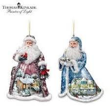 style santa ornaments with kinkade