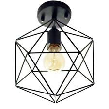 flush mount kitchen ceiling lights unitary brand antique black metal cage shade semi flush mount
