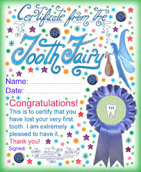 a certificate from the tooth fairy for a child who has lost his or