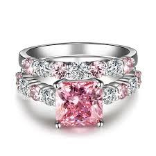 pink wedding rings pink diamond wedding ring set womens princess cut lab created pink