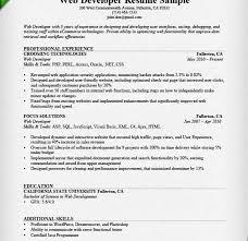 Php Developer Resume Web Developer Resume Sample Template Billybullock Us