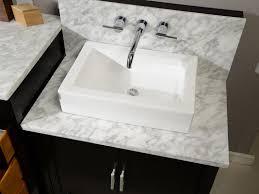 bathroom decorating design using white ceramic square vessel with