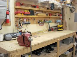 Build Wood Workbench Plans by Garage Garage Workbench Ideas Woodworking Benches Wood