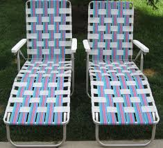 Retro Folding Lawn Chairs Aluminum Chaise Folding Webbed Lounge Lawn Chairs 5 Positions