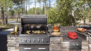 Outdoor Kitchen With Freestanding Grill Cabinets Diy Bench Model