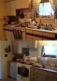 before and after pictures of painted laminate kitchen cabinets apartment kitchen makeover before after countertops 45