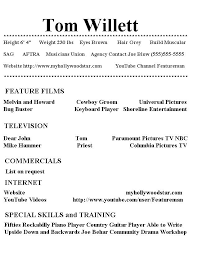 Casting Resume My Hollywood Star Resume Page 1