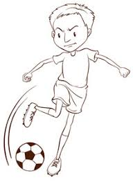 a sketch of a soccer player catching the ball on a white