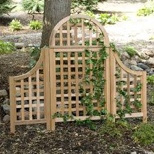 arboria andover 5 ft cedar wood arch trellis with optional side