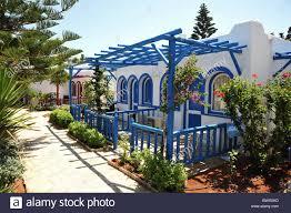 bungalow style bungalow style holiday hotel accomodation crete greece stock