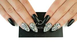 matte black with crystals uv gel nails fake nails press on