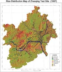 China Population Density Map by Rice Distribution Map Of Zhaoqing Test Site China For 1997