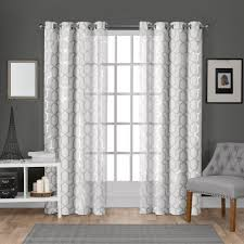 Window Curtains Panza Winter White Silver Metallic Geometric Print Sheer Grommet