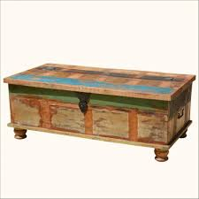 coffee table storage chest trunk industrial home decor steamer