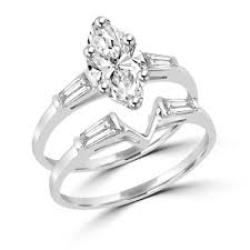 marquise cut wedding set 14k solid white gold wedding set 1 25 carat marquise cut