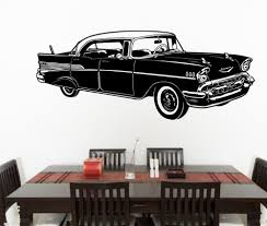 popular cars wall mural buy cheap cars wall mural lots from china removable 58x142cm1957 chevrolet sedan classic car vinyl wall sticker home decor decal art curved wall mural