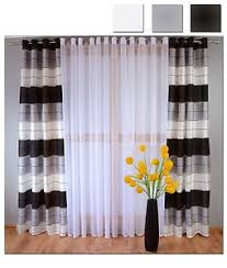 Grey And White Striped Curtains Eyelet Ready Made Voile Striped Curtains White Grey Black Ready