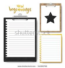 stationery set clipboard lined paper vector stock vector 541056310