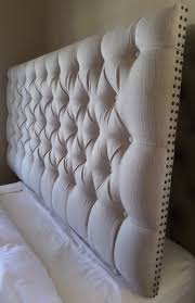 impressive extra tall tufted headboard with diamond tufted twill