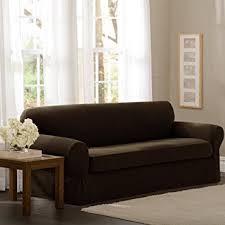 Camelback Sofa Slipcover by Amazon Com Maytex Pixel Stretch 2 Piece Sofa Slipcover Chocolate