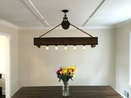Discount Chandelier Lamp Shades 4 Ft Rustic Beam Edison Bulb Chandelier With Vintage Barn Pulley