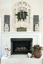 fireplace mantel decorating ideas with tv above spring decor