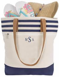personalized striped tote bags
